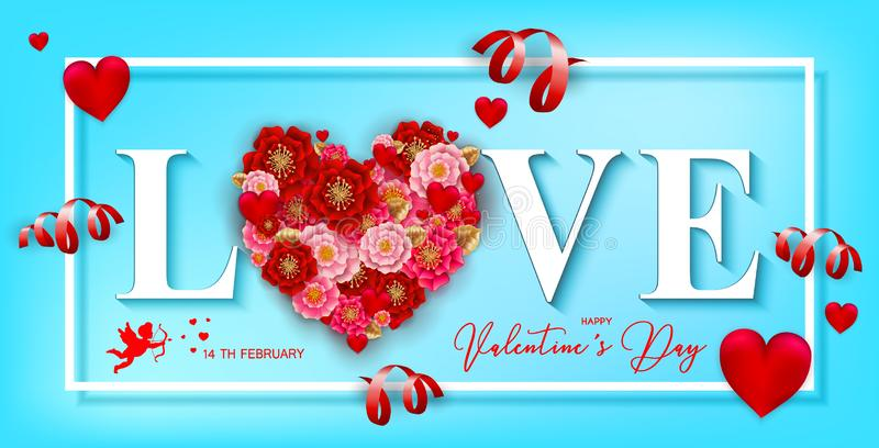 Happy Valentine`s day banner with beautiful colorful flowers and. Hearts, serpantine on blue background.For template, banners, wallpaper, flyers, invitation royalty free illustration
