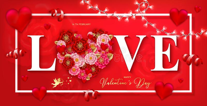Happy Valentine`s day banner with beautiful colorful flowers and. Hearts, serpantine on red background. For template, banners, wallpaper, flyers, invitation royalty free illustration