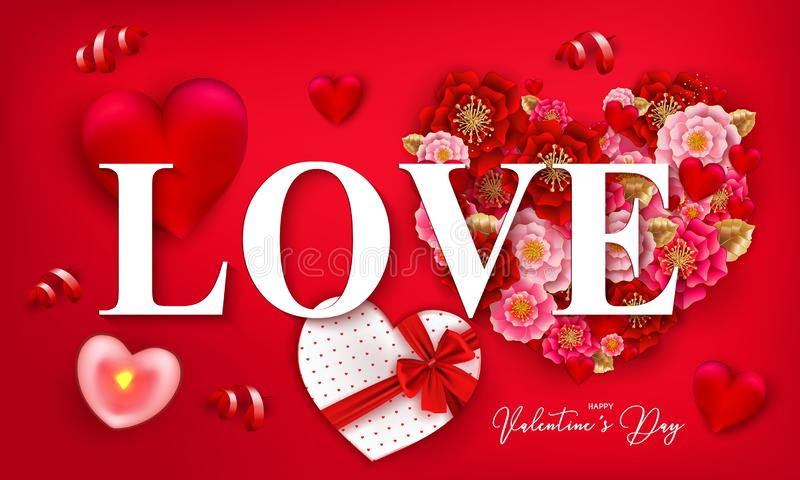 Happy Valentine`s day banner with beautiful colorful flowers and. Hearts, serpantine on red background. For template, banners, wallpaper, flyers, invitation vector illustration