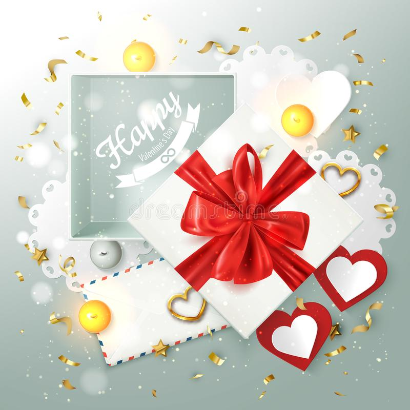 Happy Valentine`s day banner card, holiday composition with gift box and romantic elements, vector illustration stock illustration