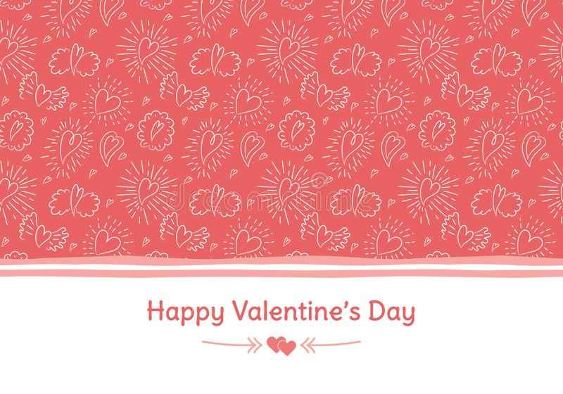 Happy Valentine`s Day banner. Greeting card. Love. Coral color. Hand drawn hearts and wings. Design for February 14.  royalty free illustration