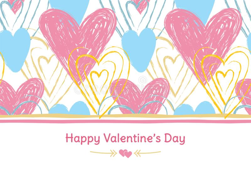 Happy Valentine`s Day banner. Greeting card. Love. Gold, blue and pink colors. Hand drawn hearts. Design for February 14.  stock illustration