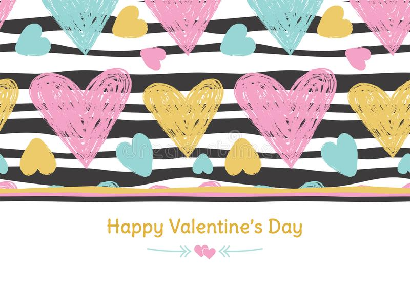 Happy Valentine`s Day banner. Greeting card. Love. Gold and pink colors. Hand drawn hearts. Design for February 14.  stock illustration