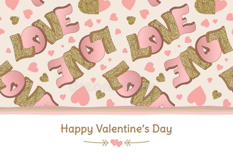Happy Valentine`s Day banner. Greeting card. Love. Lettering. Gold and pink colors. Hand drawn hearts. Design for February 14 vector illustration