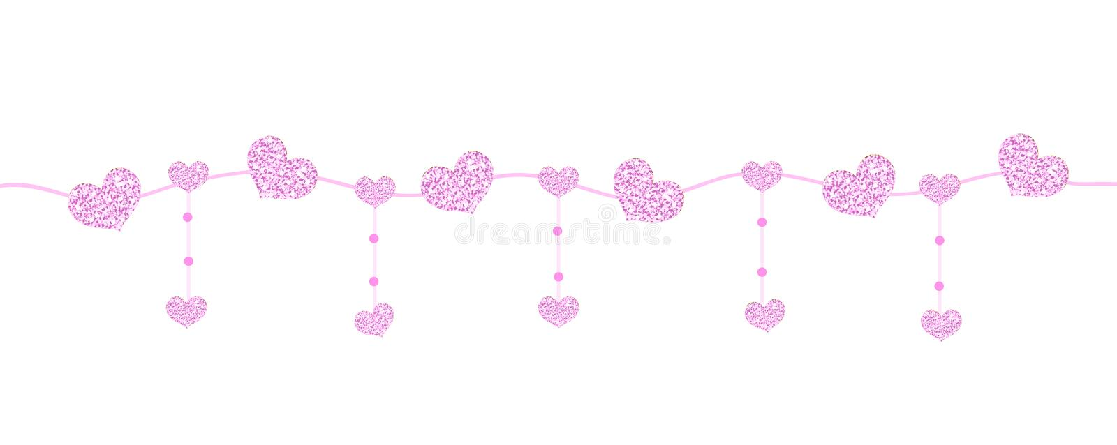 Happy Valentine`s day banner with hearts made of glitter. Brilliant horizontal borders. Romantic shining sparkling royalty free illustration