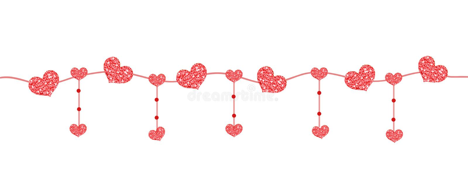 Happy Valentine`s day banner with hearts made of glitter. Brilliant horizontal borders. Romantic shining sparkling vector illustration