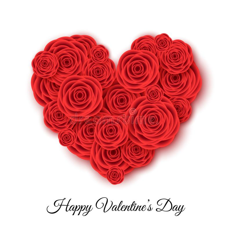 Happy Valentine`s day banner template with heart of red roses. Flowers for greeting cards, posters, sale advertisement. Floral background. Vector illustration royalty free illustration