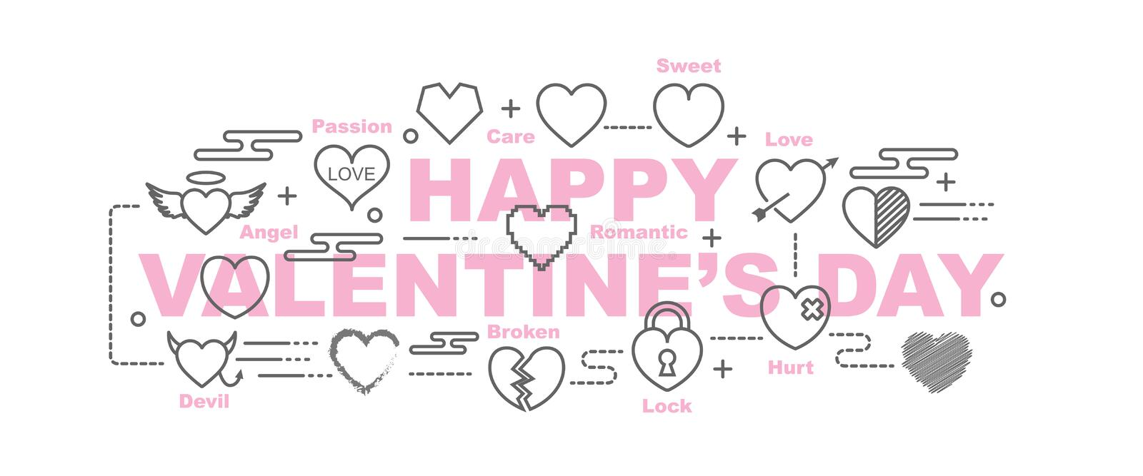 Happy valentine`s day banner vector illustration