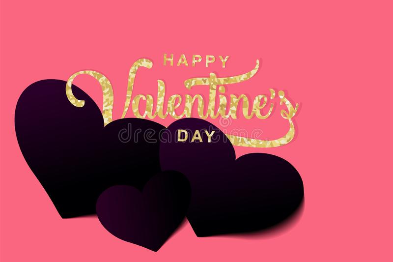 Happy Valentine's day banner vector illustration with gold lettering words and heart 3d paper cut art style royalty free illustration