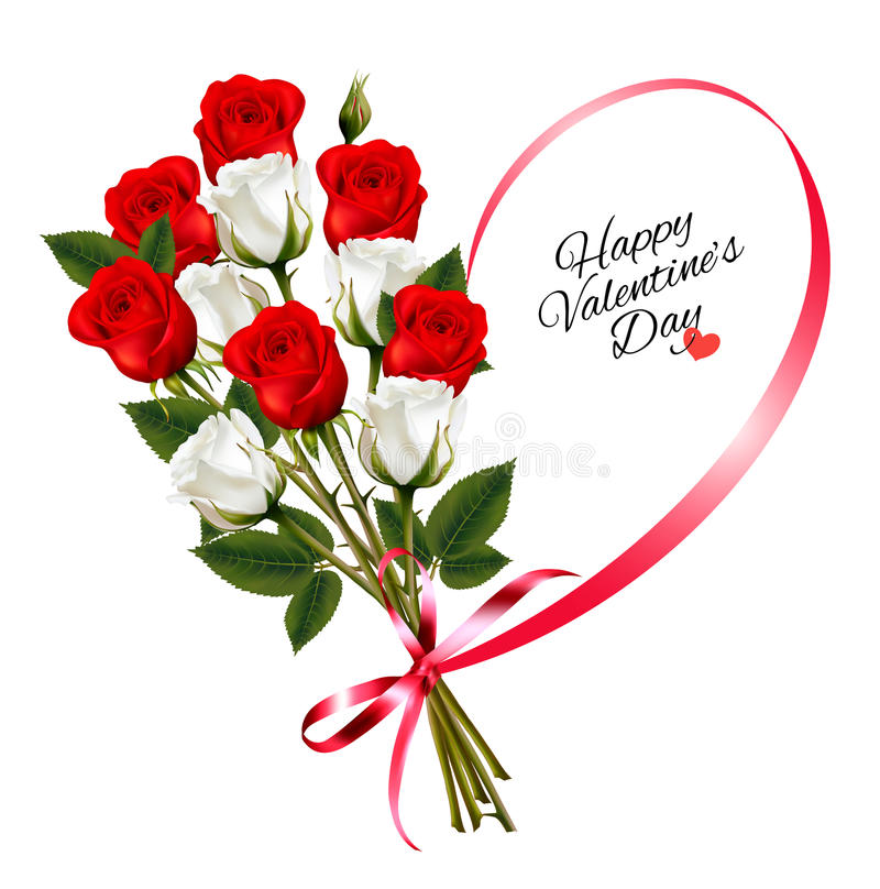 Happy Valentine`s Day beautiful background with roses stock illustration