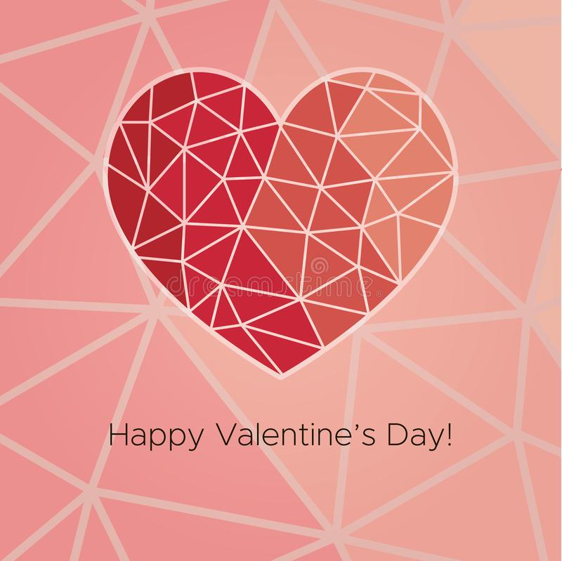 Happy Valentine`s Day! Beautiful Heart! Abstract low poly geometric polygon vector illustration stock illustration