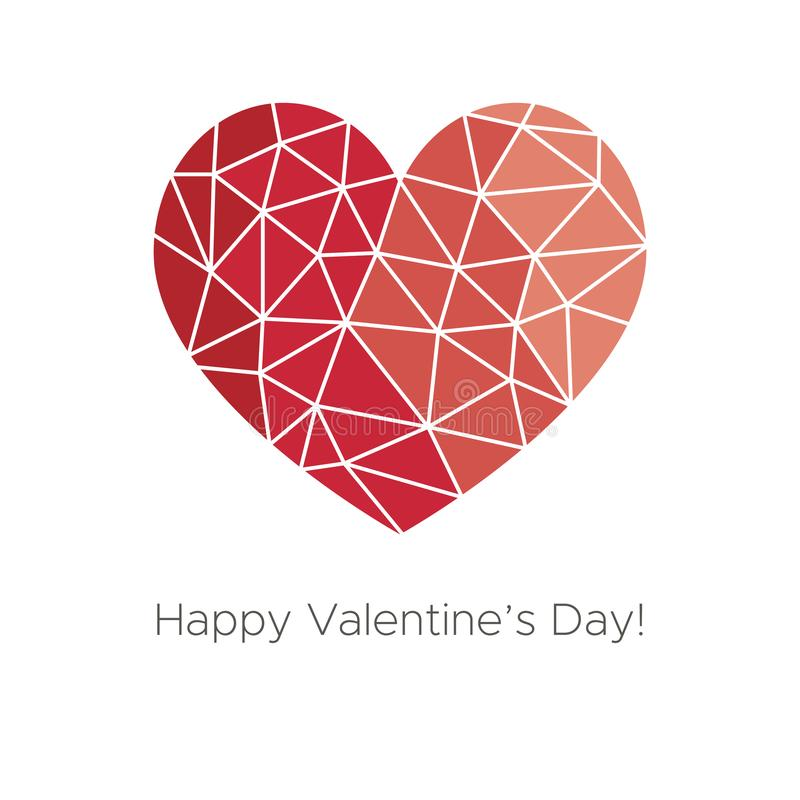 Happy Valentine`s Day! Beautiful Heart! Abstract low poly geometric polygon vector illustration vector illustration