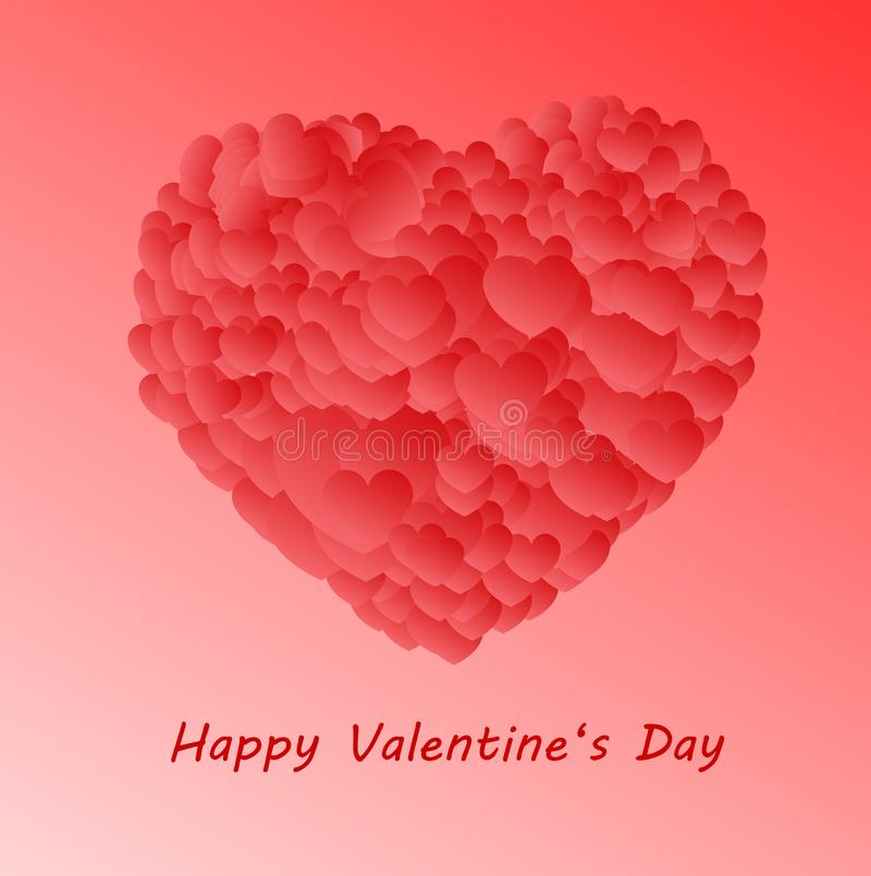 Happy Valentine`s Day - big heart made of small shaded hearts on a pink background royalty free illustration
