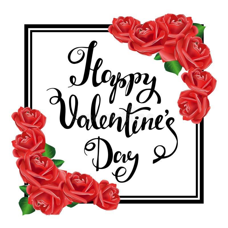 Happy Valentine S Day. Black Frame, Red Roses. Stock Vector ...