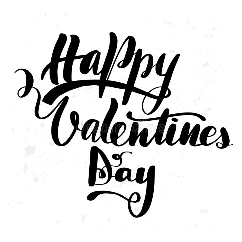 Happy Valentine`s Day brush hand. Lettering, isolated on white background. Can be used for holidays festive design. Vector illustration stock illustration
