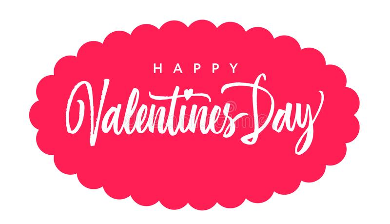 Happy Valentine`s day Brush lettering. Hand drawn calligraphy in stock illustration