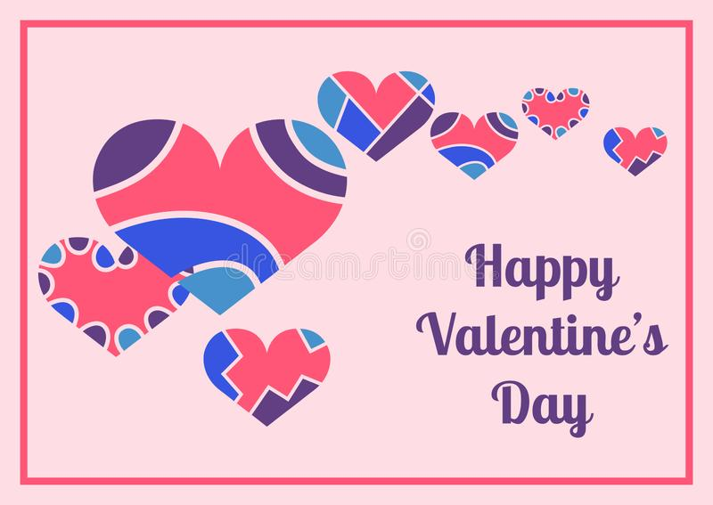 Happy Valentine`s Day calligraphic design with the image of decorative hearts for invitation or greeting card. Vector EPS10 stock illustration
