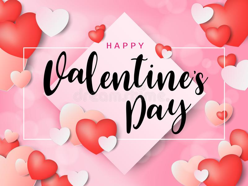 Happy Valentine`s day calligraphic Inscription decorated with red heart and pink background. illustration. brochure, flyer, vector illustration