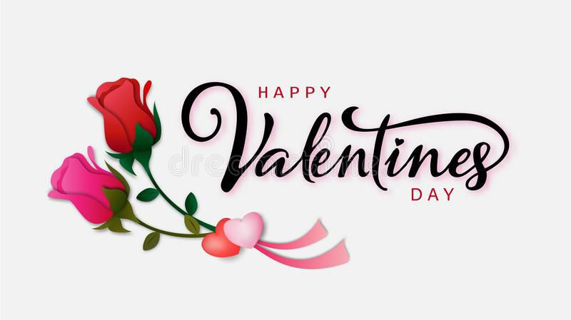 Happy Valentine`s day calligraphic Inscription decorated with red heart and pink background. vector illustration. brochure, flyer, royalty free illustration