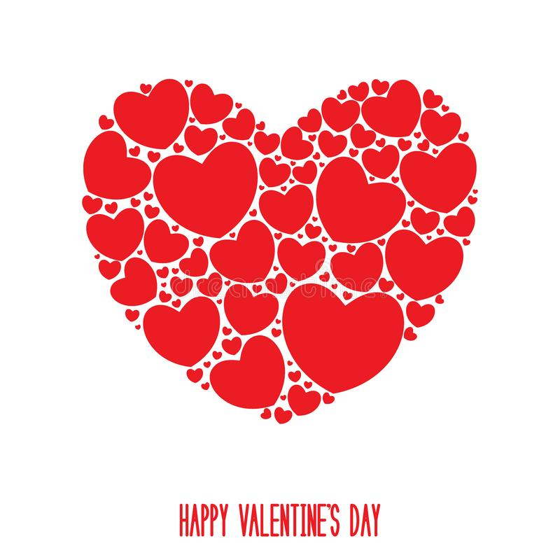 Happy Valentine`s Day Card. Big hart filled with small red hearts. Vector illustration stock illustration