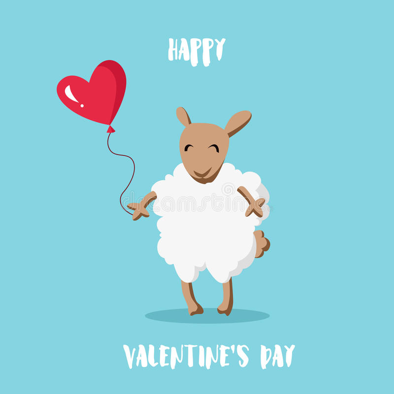 Happy Valentine`s day card. Cartoon sheep with balloon in the shape of a heart. Flat style. royalty free illustration