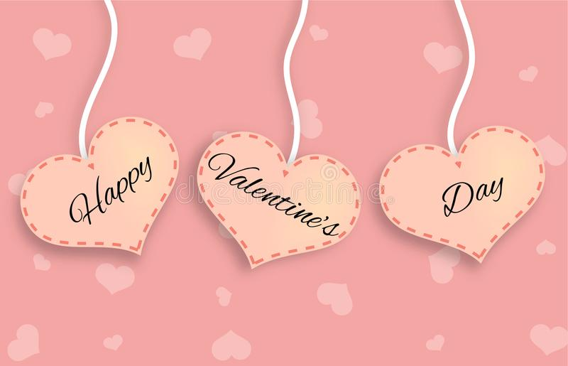 Three Pink Hearts with Happy Valentine`s Day Lettering. Happy Valentine`s Day card concept royalty free illustration