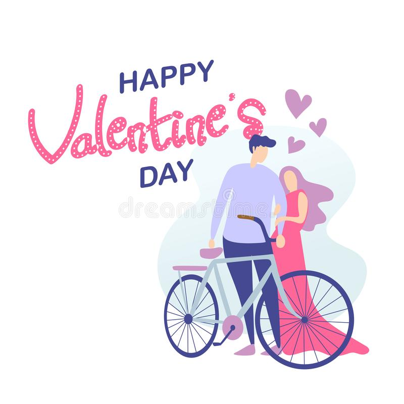 Happy valentine's day card with cute couple and traditional bicycle vector illustration valentine's day theme. Vector Happy valentine's day card vector illustration