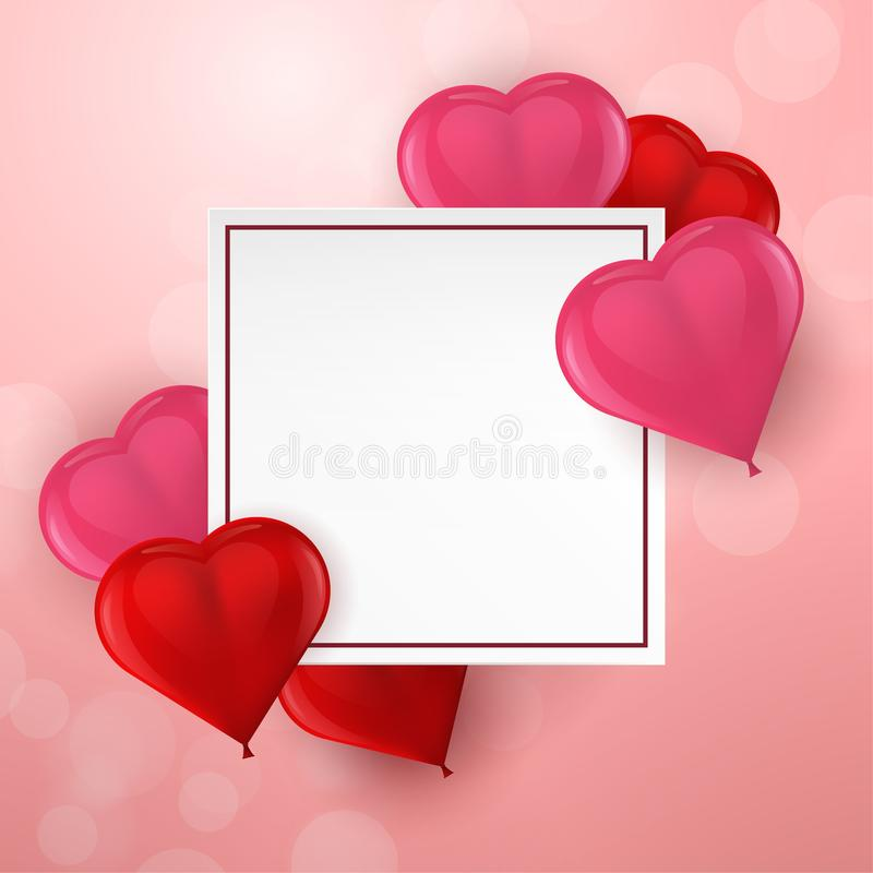 Happy Valentine`s Day card with 3d balloons heart and empty space for your text. Vector illustration. Happy Valentine`s Day card with 3d balloons heart and empty stock illustration