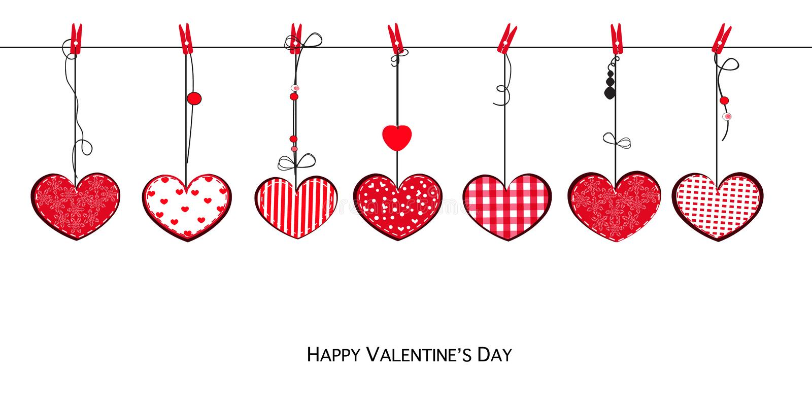 Happy Valentine`s Day card with doodle hanging retro love Valentines hearts stock illustration