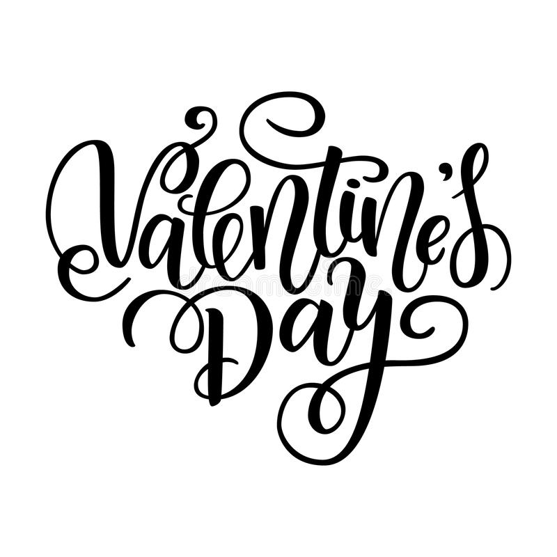 Happy Valentine's day card. Greeting Card to Day of Saint Valentine. Vector illustration isolated on white. Cute hand-writ. Ten brush lettering. 14 february post vector illustration