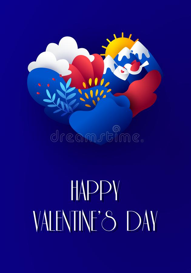 Happy Valentine`s Day card in paper style with plants, bird, envelope, mountains, clouds, sun and heart. Vector illustration. In flat style and bright gradient stock illustration
