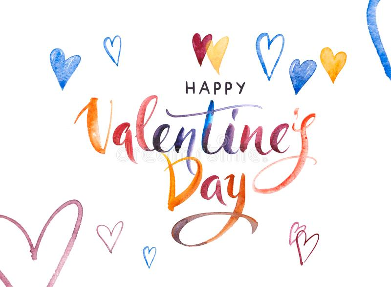 Happy Valentine`s day Card. Watercolor Hand drawn brush pen lettering and Hearts on background. Design holiday greeting vector illustration