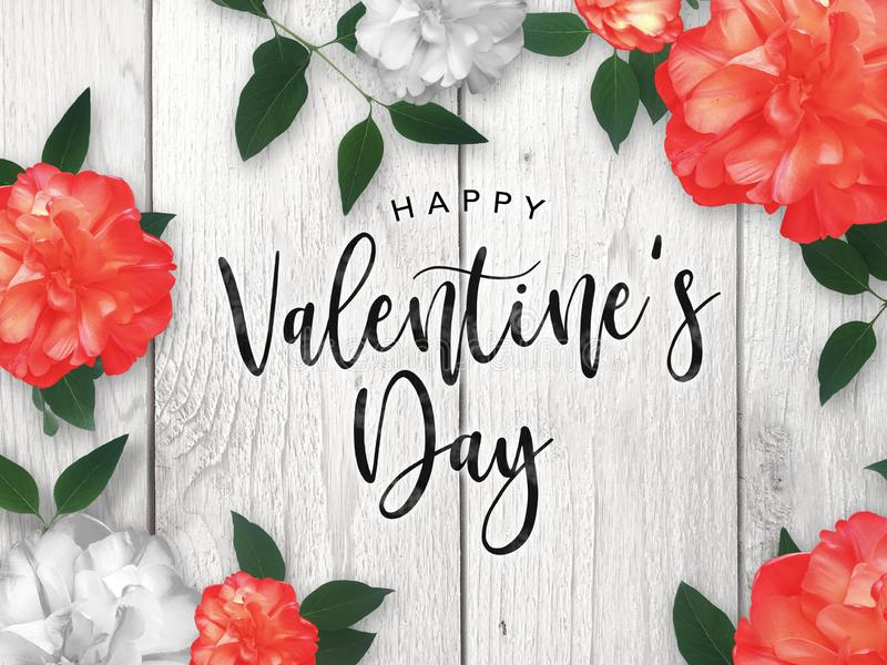 Happy Valentine`s Day Celebration Text Over Red Roses Border. With Rustic Whitewashed Wood Background stock illustration