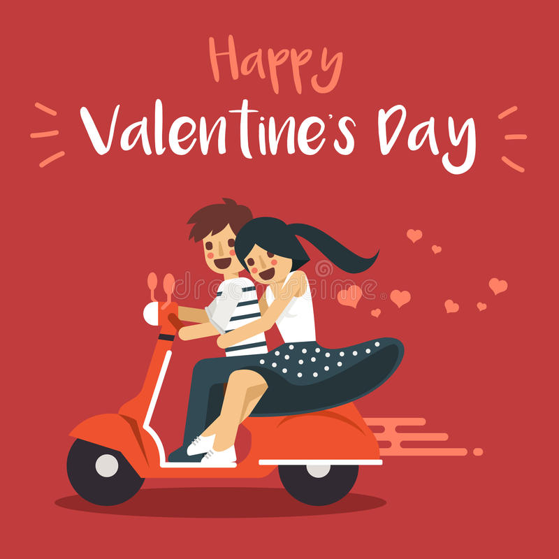 Happy Valentine`s Day Character: The lovely couple. Vector Illustrations: Happy Valentine`s Day Character: The lovely couple stock illustration