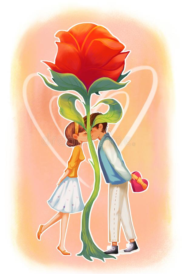 Happy Valentine`s Day! Concept Art. Realistic Illustration. Video Game Digital CG Artwork. Greeting Card Design vector illustration