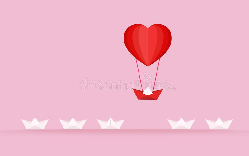 Happy valentine`s day concept of love. Outstanding the Boat rises above with heart shape hot air balloon. Vector Illustration vector illustration