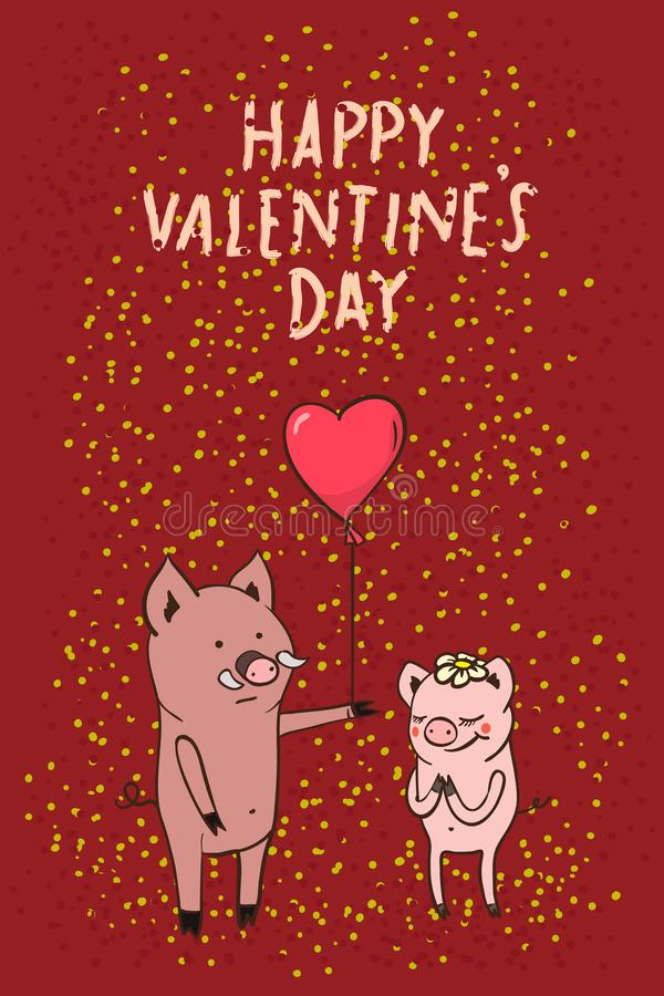 Happy Valentine`s day! cute card - poster with a vector illustration of pig couple. On a date with a balloon in heart shape , congratulations on the holiday stock illustration