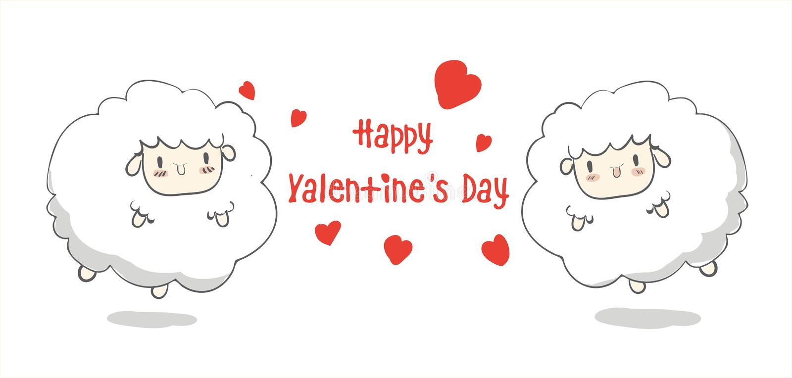 Happy Valentine`s Day,cute cartoon,sheep, greeting card greeting card with heart creative hand drawn card vector,elements,love,. Flyers, invitation, posters royalty free illustration