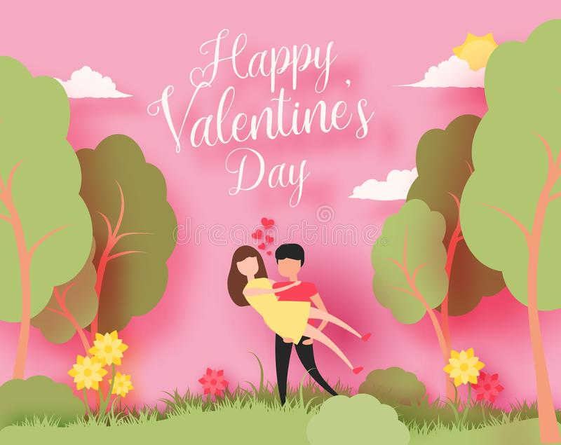 Happy Valentine`s day 3d abstract paper cut illustration of colorful paper art landscape with paper cut couple, trees. Happy Valentine`s day 3d abstract paper royalty free illustration