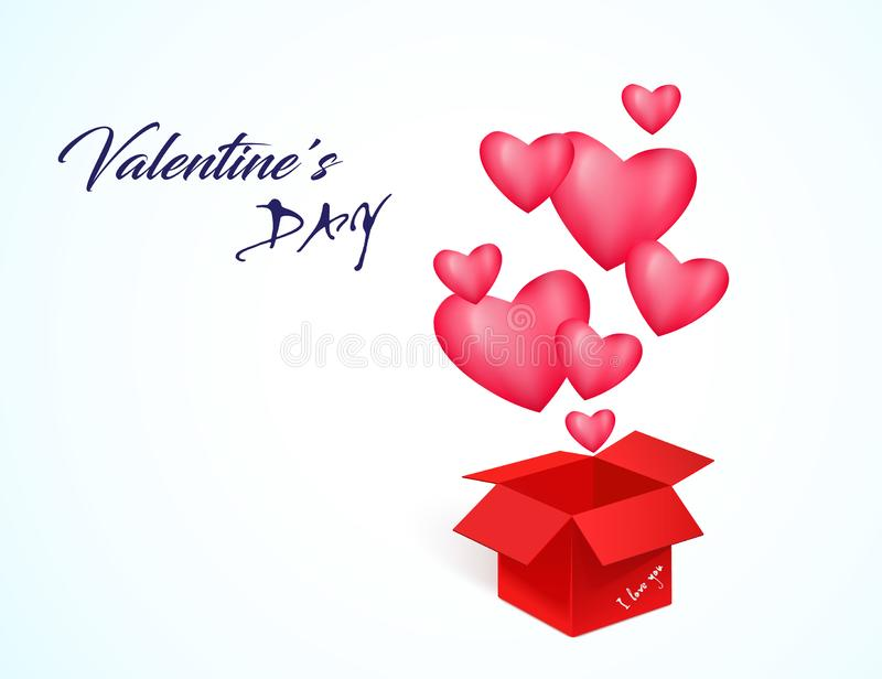 Happy Valentine`s day, 3D hearts, greeting box on white background, vector royalty free stock photography