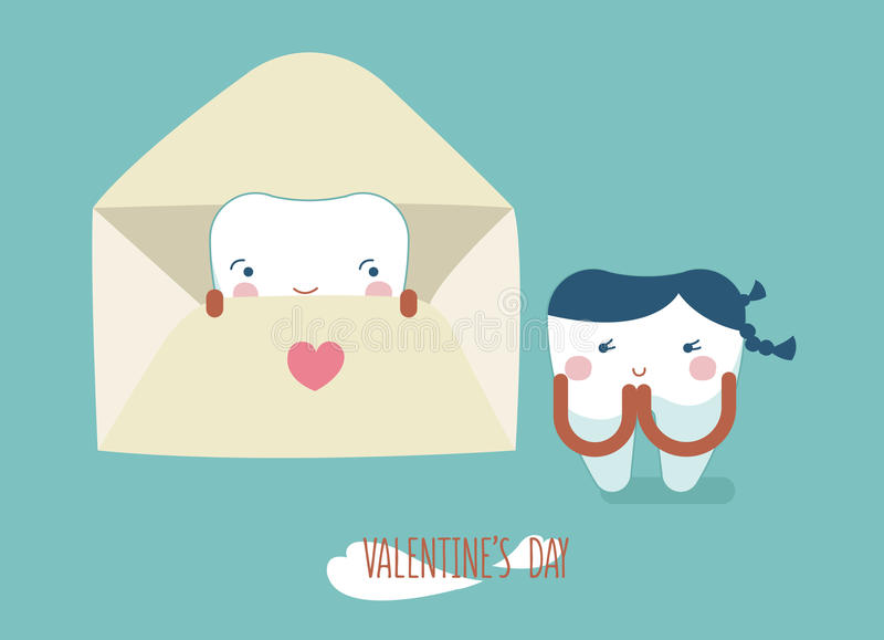 Happy valentine`s day of dental. Vector illustration royalty free illustration