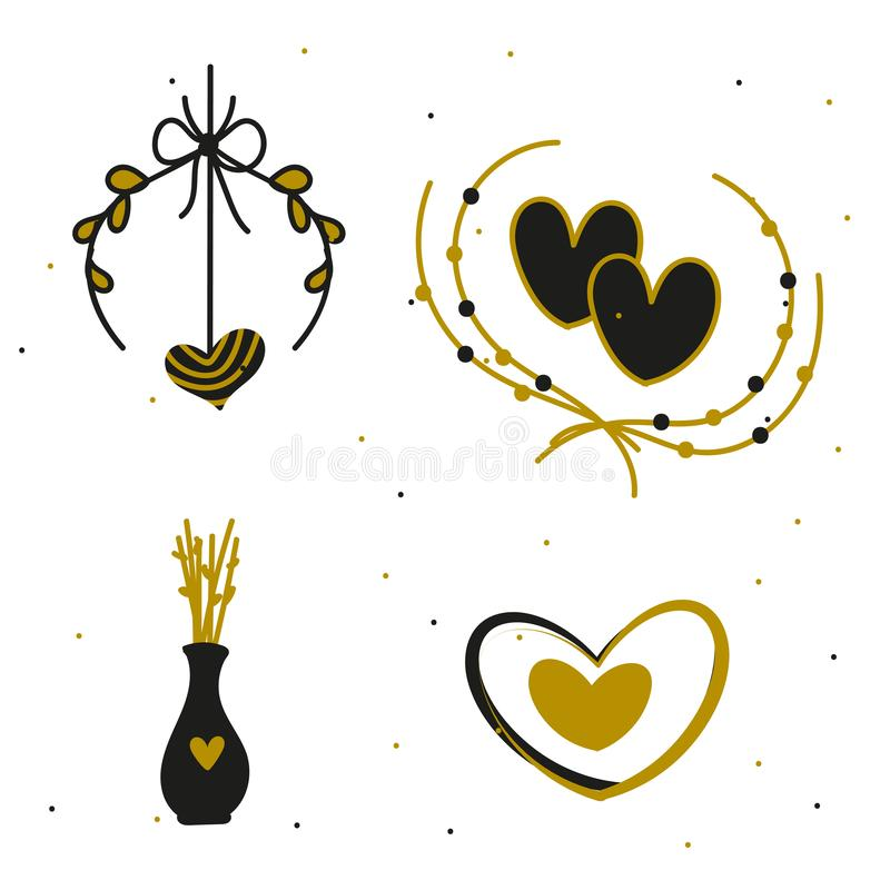 Happy Valentine`s Day elements for your design. Vector.  royalty free illustration