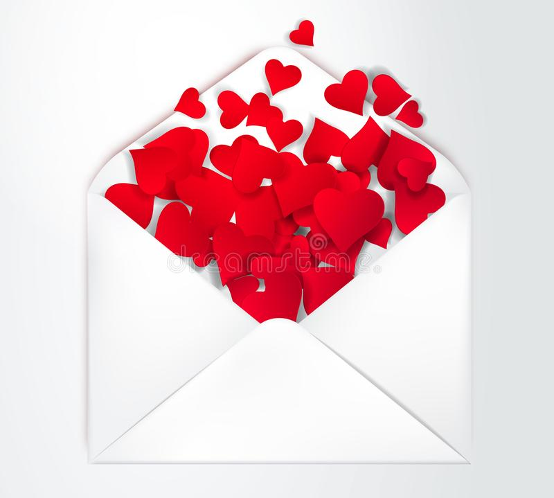 Happy Valentine s Day open Envelope with paper cut confetti Hearts Inside. Vector Illustration. Realistic Mail post. Happy Valentine s Day Envelope with stock illustration