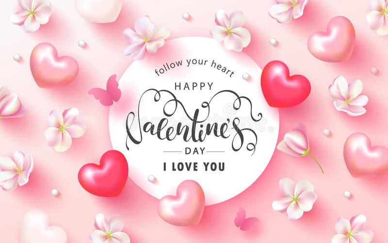 Happy Valentines Day Festive Card. Beautiful Background with spring flowers, hearts, beads and butterfly. Vector stock illustration
