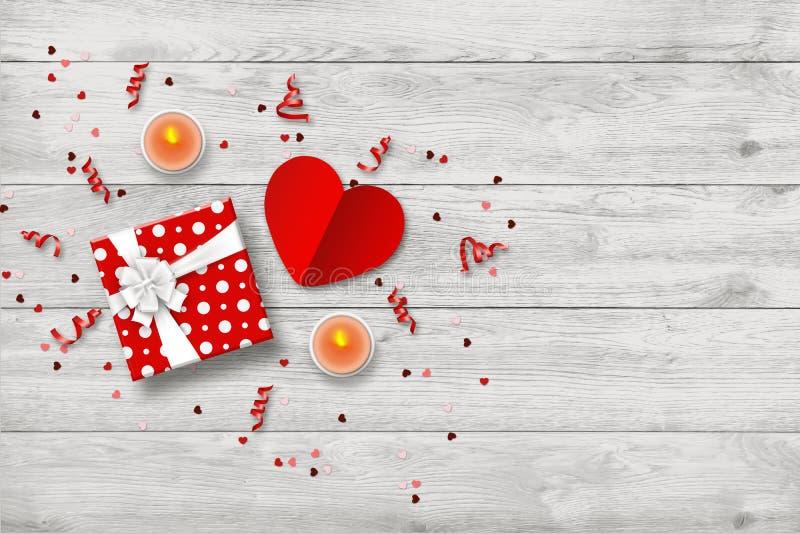 Happy Valentine's Day Festive web bananner En romantisk komposition med presentlådor, konfetti form av ett hjärta royaltyfri illustrationer