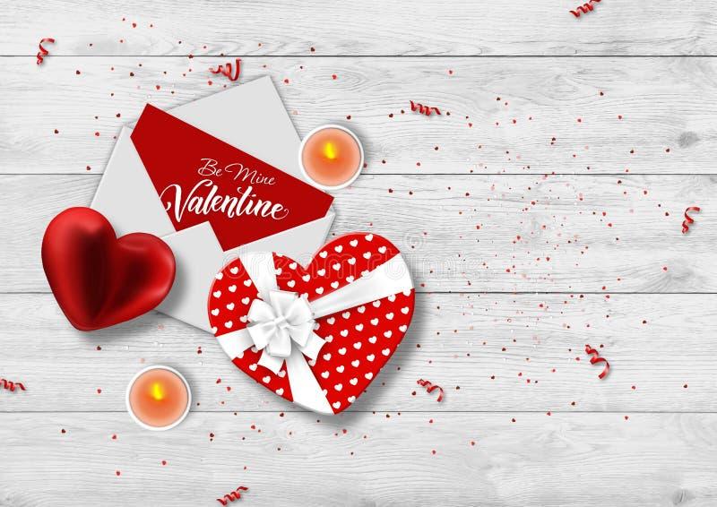 Happy Valentine's Day Festive web bananner En romantisk komposition med presentlådor, konfetti form av ett hjärta stock illustrationer