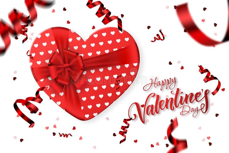 Happy Valentine\'s Day Festive web banner En romantisk komposition med presentlådor, konfetti form av ett hjärta vektor illustrationer