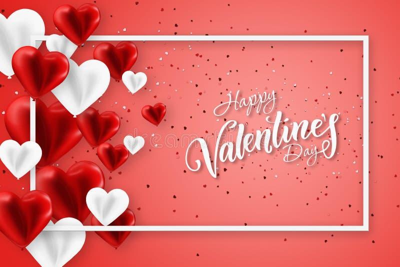 Happy Valentine's Day Festive web banner, Valentine Day Sammansättning med luftröda kulor i form av ett hjärta Flyter stock illustrationer