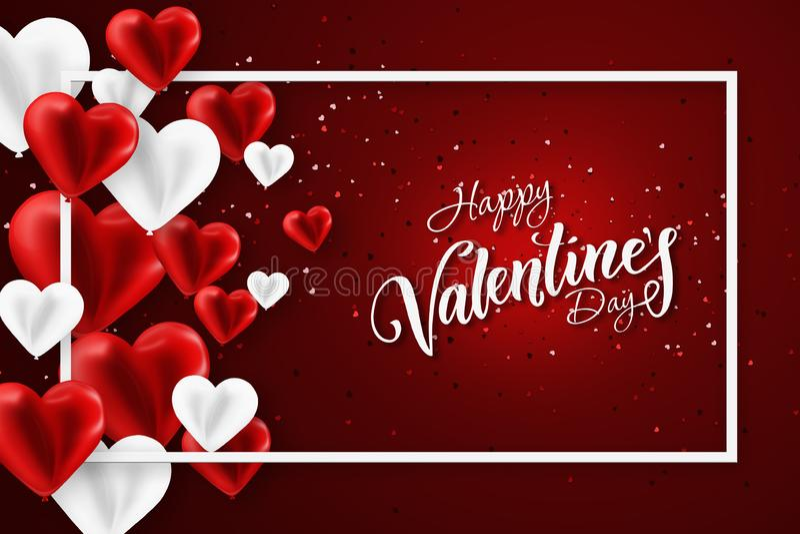 Happy Valentine's Day Festive web banner, Valentine Day Sammansättning med luftröda kulor i form av ett hjärta Flyter vektor illustrationer