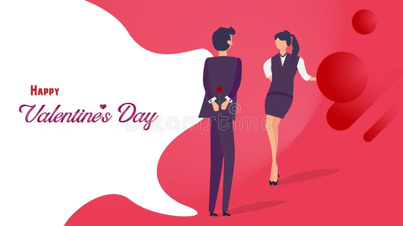 Happy Valentine`s day flat design. Man giving rose to his girlfriend for romantic flirting. Graphic design concept. Vector. Illustration stock illustration